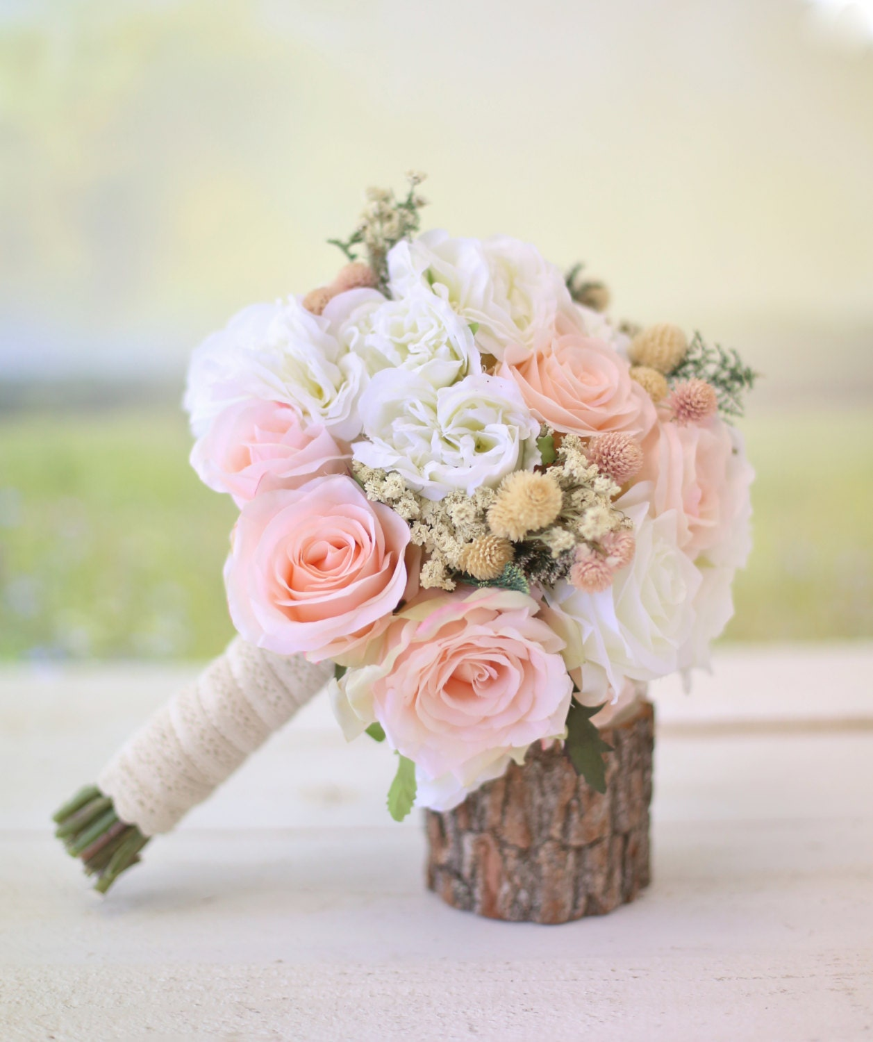 silk wedding bouquet silk bridal bouquet wildflowers pink roses baby s breath 7415