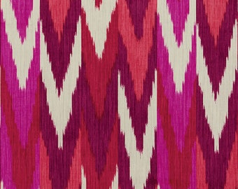 Schumacher Kashgar Ikat Pillow Cover in Red and Purple