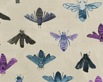 Dreamer by Carrie Bloomston for Windham Fabrics - Full or Half Yard modern Bees on Taupe