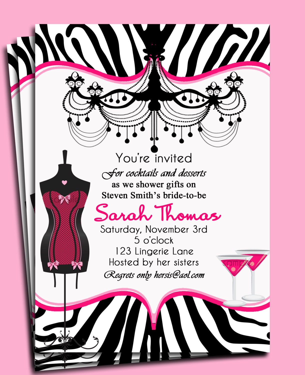 Bridal Shower Invitation Bachelorette Party Invitation