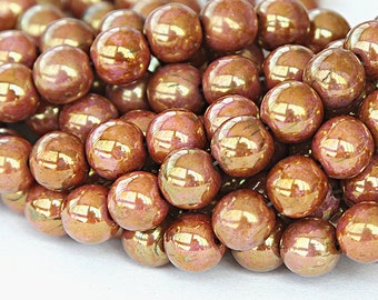 Opaque Rose Gold Topaz Luster Czech Glass Beads, 8mm Round - 25 pcs - eP65491-8r