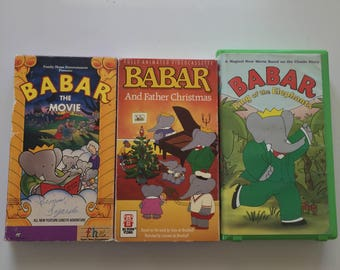 Babar And Father Christmas, The Movie, King Of The Elephants  (VHS LOT OF 3)