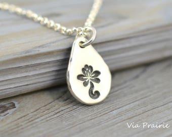 Zen pendant, Lotus necklace, Lotus flower pendant, Zen gift, Yoga necklace, Silver nugget pendant, Zen Jewelry, Sterling silver necklace