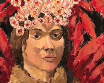 Ashi's Samba Crown- original casein painting