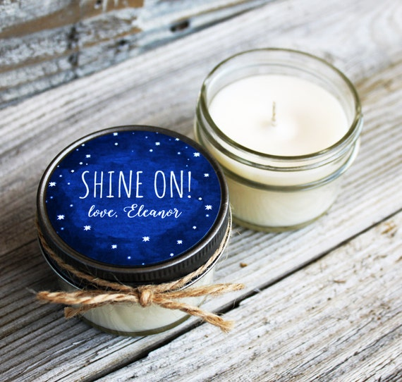 Set of 12 - 4 oz Wedding Favor Candle - Soy - Personalized Wedding Favors // Chalkboard Starry Night MOPS Favors