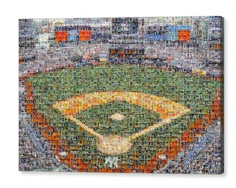 Unique, Large New York Yankees Mosaic Art UV Print of Yankee Stadium of over 290 Unique Player Cards (1903-). All the Greats Included!