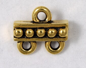 9.4mm x 10.6mm Antique Gold Tierracast Beaded Two Loop End Bar #CKB151