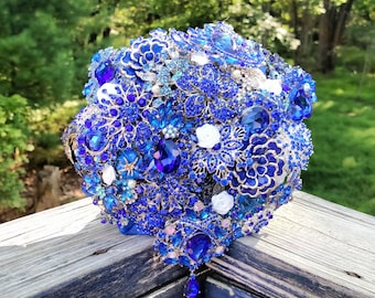 Brooch Bouquet - Broach Bouquet - Crystal Bouquet - Wedding Bouquet - Bridal Bouquet - Keepsake Bouquet - Something Blue Bouquet - Deposit