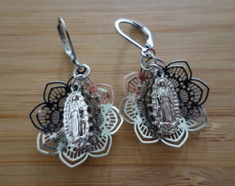 Our Lady of Guadalupe stainless steel earrings great gift for Confirmation, catholic jewelry catholic gift.  Mexican folk art, mexican lace