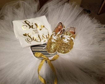 six and sassy gold and white tutu set with shoes