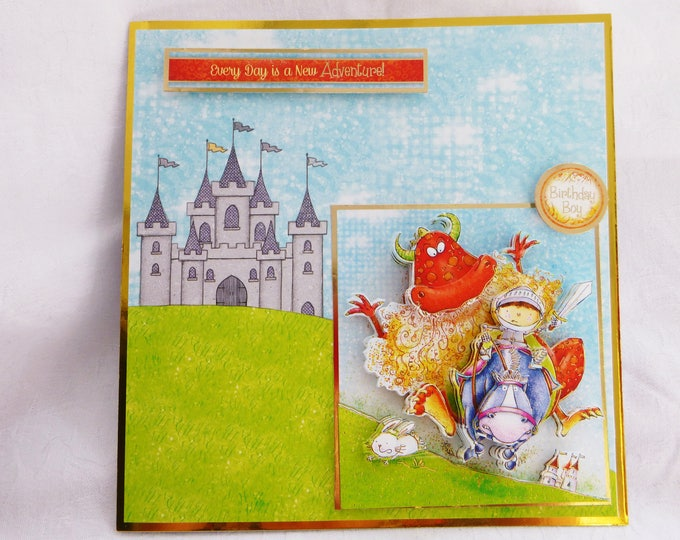 Boys Birthday Card ,3D Decoupage Card,  George and the Dragon, Castle, Boys of Any Age, Number Can Be Added, Son, Brother, Nephew, Grandson