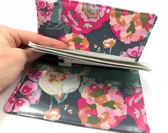 Green Duplicate Checkbook Cover Register -  Duplicate Checkbook Reigster Fabric Checkbook Cover Garden Rocket in Bachelorette