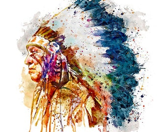 Native American Chief Watercolor portrait Wall art Printable art Watercolor painting Indian decor Aquarelle Indian poster Room decor Profile