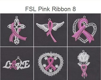 FSL Pink Ribbon 8 Free Standing Lace Machine Embroidery Designs Instant Download 4x4 hoop 10 designs APE2303