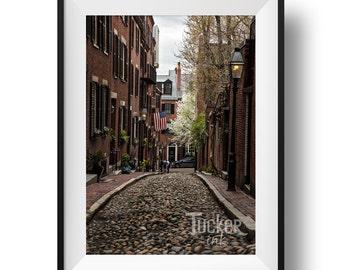 Acorn Street - Boston, Massachusetts {beacon hill american flag cobblestone wall art print photo photography decor brownstone photo}