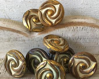 Vintage shabby drawer knobs furniture hardware swirl knobs copper gold patina set of 8 cabinet knobs cabinet pulls metal drawer knobs