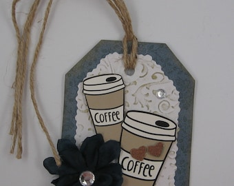 Coffee gift tag, mother's day, coffee tag, coffee gift tag with flower
