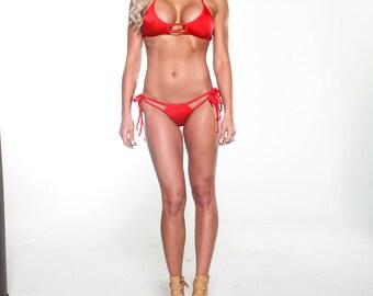 Bitsy's Bikinis Solid Red Double Strap Scrunch Butt Bikini 2 Piece Cheeky Brazilian Bottom Bandeau Top - Mini Extreme Micro Swimwear