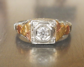 Art Deco Engagement Ring - 1920s Engagement Ring - Edwardian Engagement Ring - Unique Engagement Ring-Deco Diamond Ring-Diamond Engagement