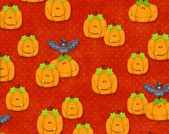 The Count Orange Pumpkins ~ Henry Glass cotton woven fabric by the yard