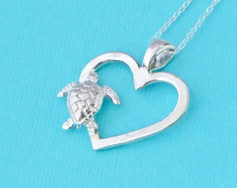 Sea Turtle Necklace, Sea Turtle Pendant, Heart Pendant, Beach Jewelry, Sea Turtle Jewelry, Silver Turtle, Love Turtles, Gift For Her