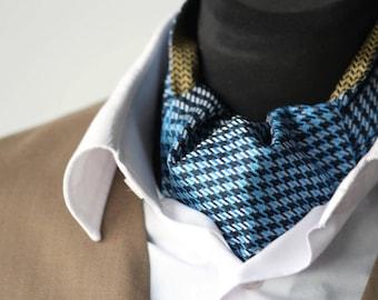 Mens Ascot Mens Cravat Printed Silk Day Cravat Reversible Ascot Tie A010