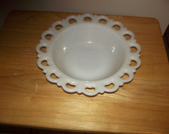 Large milk glass serving bowl
