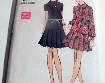 """1960s Drop waist loose fitting dress pleated skirt shirtwaist collar sewing pattern Vogue 7663 Size 12 Bust 34"""""""