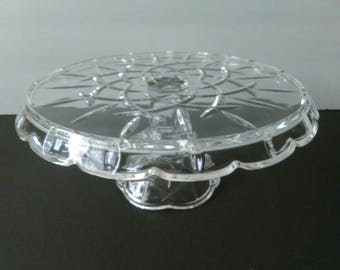 Vintage Glass Pedestal Crystal Cake Stand 11 Inch Round Wedding Cake Stand