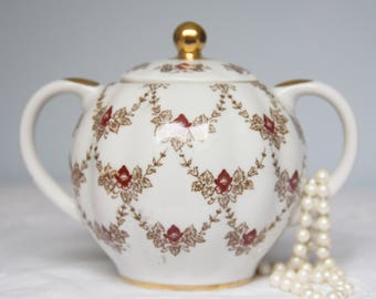 Vintage Lomonosov Porcelain Sugar Bowl, Maroon Iris Pattern, Embellished with 22 Kt Gold, Replacement, Russia