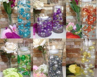 Unique Floating Pearl Centerpieces 80pc Mix, Jumbo Pearls Vase Fillers, Wedding Pearl Centerpieces, Decorative Pearls