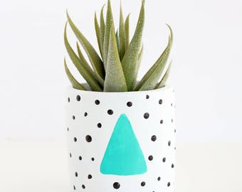 80's Style Memphis design small planter for succulent or cactus - modern abstract geometric - choose your color
