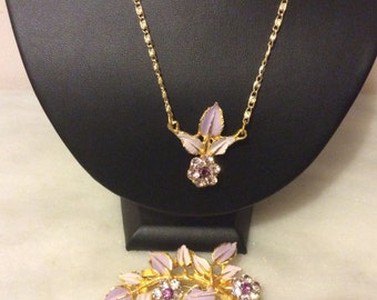 Vintage 1950's enamel and rhinestone lilac amethyst necklace and brooch
