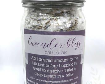 ORGANIC 1lb Lavender Bath Soak, Relaxing Bath Soak, Essential Oil Infused Bath Soak, Lavender Flower Bath Soak, Organic Bath Salts