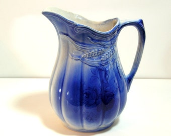 Royal Crownford Ironstone Wheat Jug, Cobalt Blue Glaze, Arthur Wood, Made In England