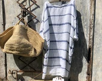 Newport Blue and White Stripe Linen Dress