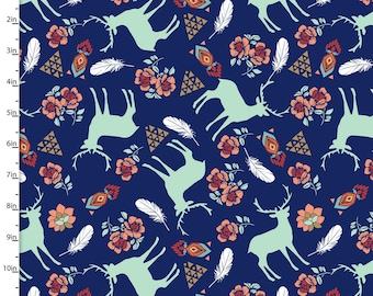 Floral au sud-ouest, plumes, & cerf tissu, sud-ouest aztèque couette tissu, 3 souhaits Pachua 12933 marine, menthe, corail, Turquoise, coton