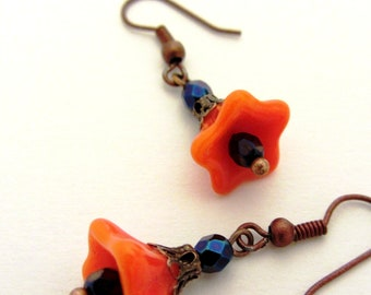 SEX ON The BEACH Earrings with Sweet Mango Orange Glass Blooms,  Capri Blue Crystal Beads and Copper