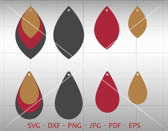 Stacked Earring SVG, Stacked Leaf Tear Drop SVG, Pendant svg ...