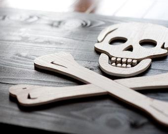 Jolly Roger Pirate Wood Flag, Reclaimed Cedar Wood, 3D, Wooden, vintage, art, wall art, Pirate, Skull and Crossbones, home decor