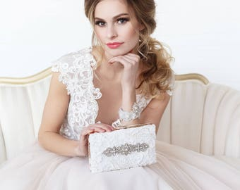 Ivory bridal clutch, beaded evening bag, rhinestone clutch, bridal clutch, lace purse, bridal purse, wedding clutch, evening clutch