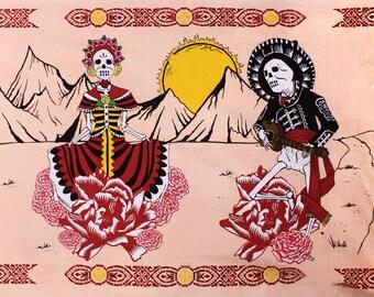 Day of The Dead Tapestry Psychedelic Sugar Skulls dia de los muertos Art 60 x 90
