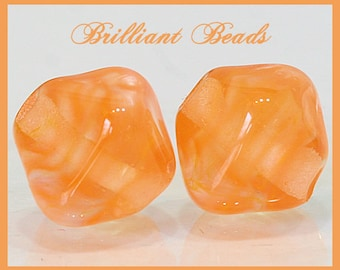 Golden Sunshine Bicone Glass Beads - Handmade Lampwork Bead Pair SRA, Made To Order
