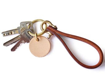 Personalized keychain/ Thanksgiving/ Custom Leather Keychain / Hand Stamped Personalized Keychain / Little Leather / Gift