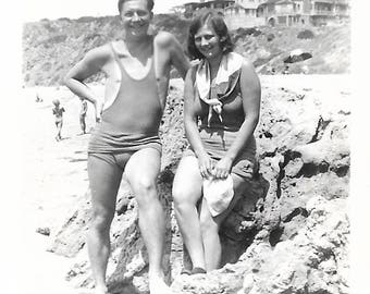 "Vintage Snapshot ""Just Hangin' Out"" Proud Man Shy Girl Bathing Suits Found Vernacular Photo"