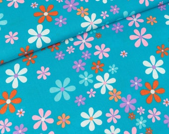 Cotton fabric Floral Turquoise-coloured (9.40 EUR/meter)