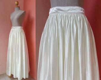 "Satin Maxi Skirt Small Womens Skirts Vintage Skirt Women Prom Skirt Party Skirt Evening Skirt White Cream Long Skirt Size 4 Waist 26"" S"