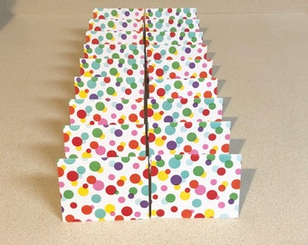 18 Mini Cards Rainbow Dot 2 3/4 x 3 1/2 blank for thank you notes