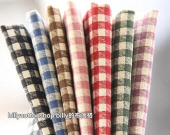 SALE) k58 - scrap bundle -checkers- 7 pieces x (28cm x 30cm) - cotton linen
