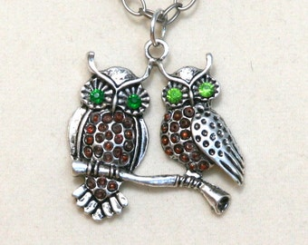 Green Eyed Owls antique silver necklace